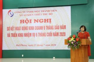 Đ/c Nguyễn Thị Thủy - Chủ tịch Công ty phát biểu chỉ đạo tại Hội nghị