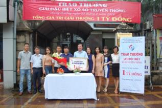Trao thưởng giải Đặc biệt trị giá 1 tỷ đồng mở thưởng ngày 22/8/2018 tại chi nhánh XSKT Sóc Sơn